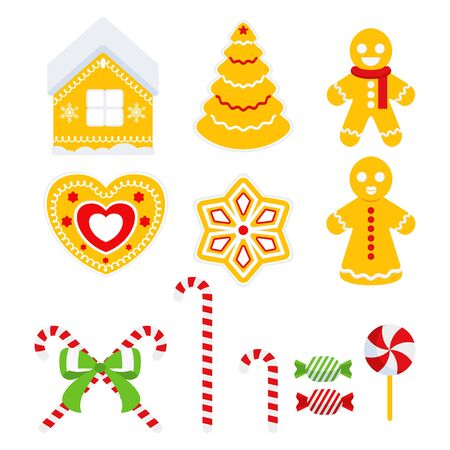 Set of gingerbread cookies. Christmas tree, house, heart, little people. Illusztráció