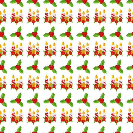 Seamless pattern with Holly berry branch. Flat vector illustration. Illusztráció