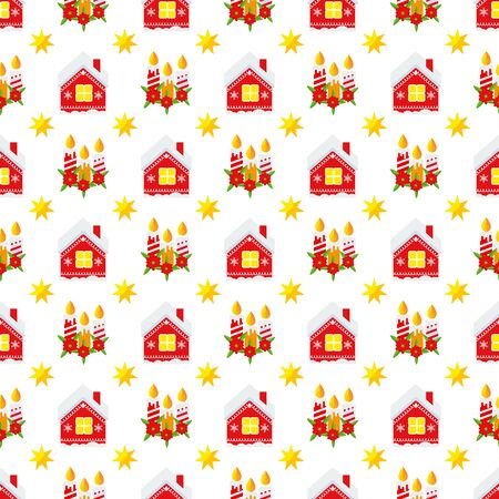 Christmas candles and house seamless pattern Illusztráció