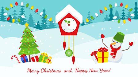 Horloge murale avec coucou et pendule. Carte de Noël lumineuse avec des personnages pour les décorations de vacances. Cadeau Tradition, décoration de la maison. Illustration de dessin animé de vecteur plat.