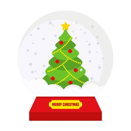 Glass christmas snowball Flat vector cartoon illustration.