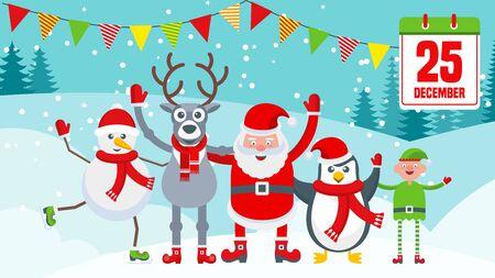 Traîneau de rennes avec des cadeaux près du village du Père Noël. Carte de Noël lumineuse avec des personnages pour les décorations de vacances. Cadeau Tradition, décoration de la maison. Illustration de dessin animé de vecteur plat.