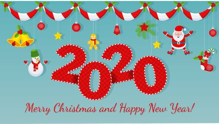 2020 Greeting card for Merry Christmas and Happy New Year. Illustration for flyer and booklet, brochure and website. Çizim