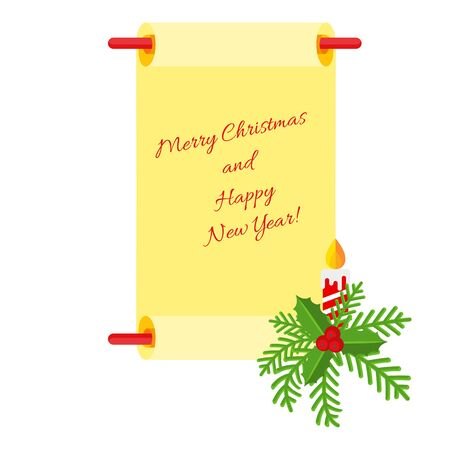 Merry Christmas and Happy New Year scroll and wishes. Decoration for new year and Xmas for holiday card, booklet, brochure and website. Flat cartoon illustration isolated on white background.