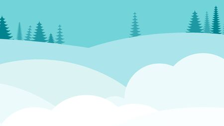 Winter snowy deserted landscape. Flat vector background for christmas cards, winter sale advertising. Design for Cover of brochure design template, card, banner.