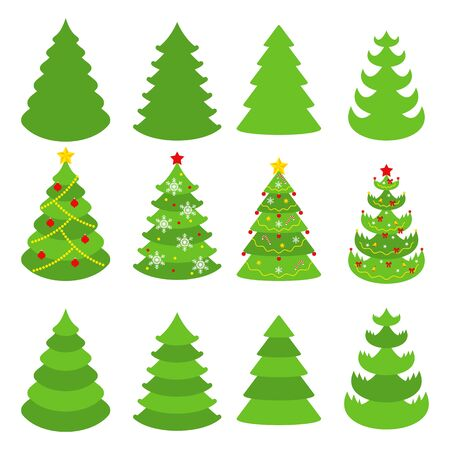 Christmas tree vector icons set. Congratulatory decoration for new year and Xmas for holiday card, booklet, brochure and website. Flat cartoon illustration isolated on white background.  イラスト・ベクター素材