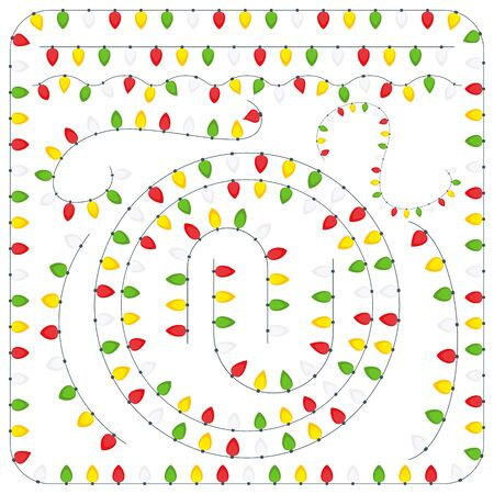 Christmas lights set. Flat vector elements for cards
