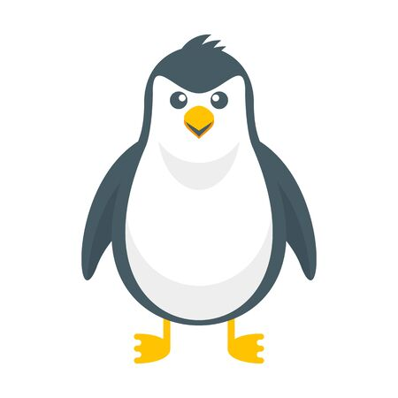 Merry cute penguin. Christmas character. Flat cartoon illustration isolated on white background.