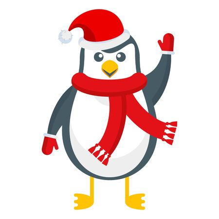 Merry cute penguin in a scarf and hat. Christmas character. Flat cartoon illustration isolated on white background.  イラスト・ベクター素材