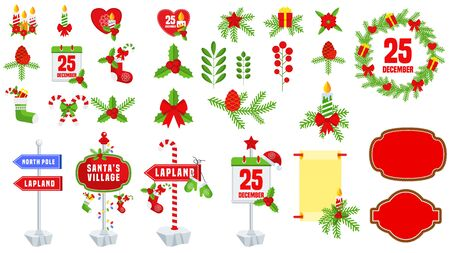 Christmas icons set. Flat vector Winter holiday decoration.