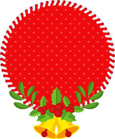 Vector round red sale tag. Scandinavian style decoration for discount, price or gift. For winter, Christmas or New Year sale. Flat cartoon illustration isolated on white background.