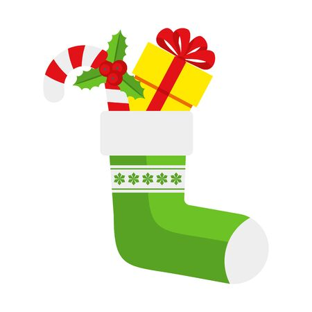 Christmas Green Sock with sweets and gifts. Illustration