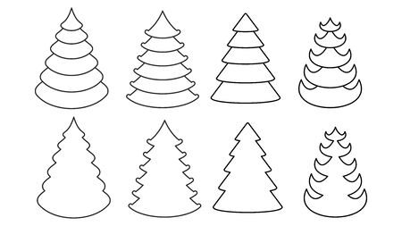 Christmas tree vector icons set. Flat cartoon illustration Illusztráció
