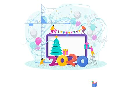 2020 Happy New Year concept. iny people create a Christmas card.