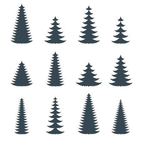 Silhouette of coniferous evergreen tree. Spruce, fir, cedar Stock Vector - 134657070
