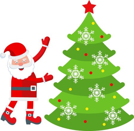Funny happy Santa Claus character decorates a Christmas tree. Celebration of Merry Christmas and New Year. For Holiday Greeting cards, banners, tags and labels. Stock Vector - 134881970