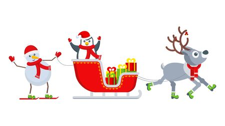 Penguin and snowman on a reindeer harness. Illustration