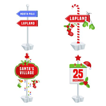 Santa Claus Country Signpost. Road sign to north pole and Lapland. Stock Vector - 135214256