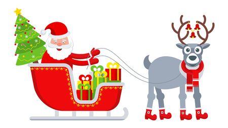 Happy Santa Claus in the sleigh with reindeer Ilustração