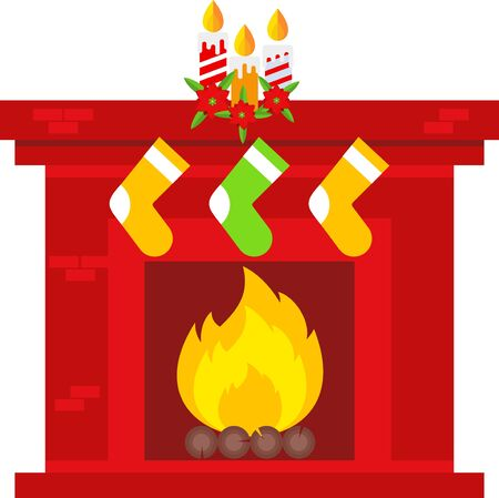 Christmas fireplace scene. Flat vector cartoon illustration.