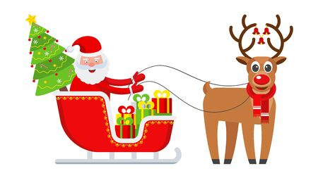 Funny happy Santa Claus. Celebration of Merry Christmas Illustration