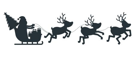 Silhouette of Santa Claus sleigh and reindeer harness.