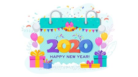 2020 greeting card. Huge calendar in snowdrift. Boxes with gifts, garland hangs. Flashes of fireworks, streamer, confetti. Greeting card for Christmas and New Year. Trending flat design illustration. Stock Vector - 134948663