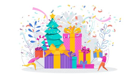 Huge pile of gift boxes with Christmas Tree. Anniversary, celebration. Greeting card for Merry Christmas and Happy New Year. Illustration for flyer and booklet, brochure and website.