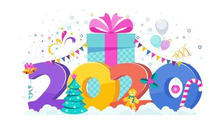 2020 greeting card. Huge gift box, Christmas Tree, garland hangs. Flashes of fireworks, streamer, confetti. Greeting card for Christmas and New Year. Trending flat design illustration. Stock Vector - 134949276