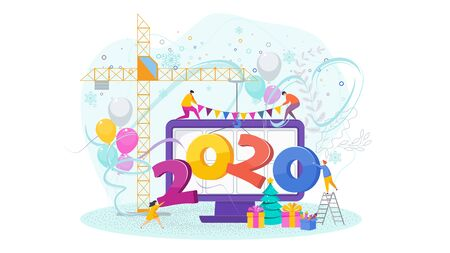 Little people drag a huge 2020 numbers onto a computer monitor. Website design for celebration of the New Year and Christmas. Vacations, party and winter holidays. Trending flat design illustration.