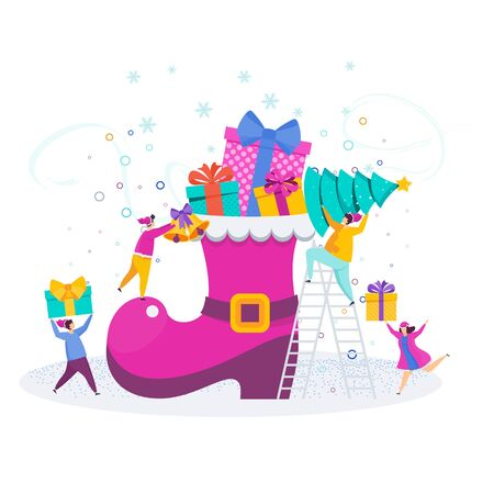 A group of tiny people, young men and women decorate a Christmas Santa Claus boot. Greeting card characters for Merry Christmas and Happy New Year. Illustration for flyer brochure and website. Stock Vector - 135481966