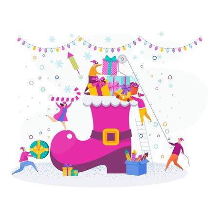 A group of tiny people, young men and women decorate a Christmas Santa Claus boot. Greeting card characters for Merry Christmas and Happy New Year. Illustration for flyer brochure and website. Stock Vector - 135483419