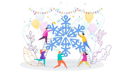 Tiny people hold huge Snowflake. Christmas and New Year greating card. Gift box and garland hangs. Flashes of fireworks, streamer, confetti. Greeting card for Christmas and New Year. Trending flat design illustration.