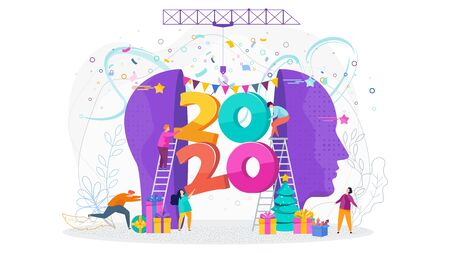 Tiny people insert a huge numbers 2020 into a human head, profile. Outstanding festive mood, joy. Mind and creative ideas, solutions and event. Flat vector illustration for flyer, booklet, website. Stock Vector - 135655517
