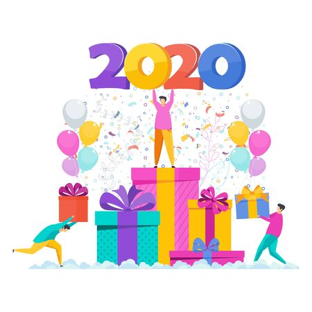 Tiny man is standing on a pile of boxes. Greeting card for the new year. Garland hangs. Flashes of fireworks, streamer, confetti. Flat vector illustration for flyer and booklet, brochure and website. Stock Vector - 135655571
