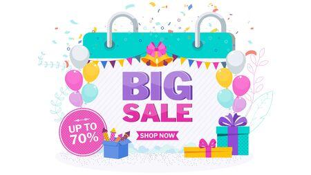 Christmas sale banner on white Stock Vector - 136283060