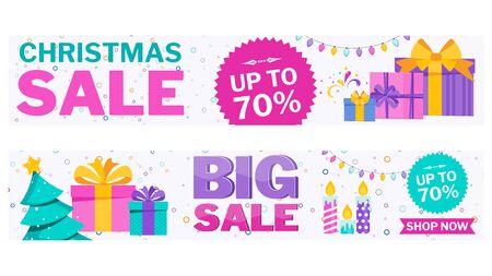 Christmas sale banner on white Stock Vector - 136283057