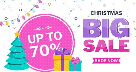 Christmas sale banner on white Stock Vector - 136283059