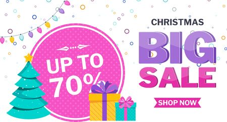 Christmas sale banner on white