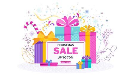 Christmas sale banner on white Stock Vector - 136283065