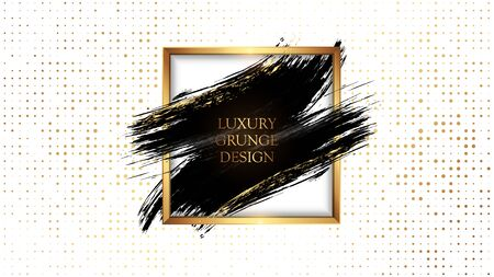Luxury grunge design. Golden frame and a smear of black paint. Elegant poster For the cover of an expensive magazine, premium packaging and perfumery. VIP design vector illustrations. Stock Vector - 136109342