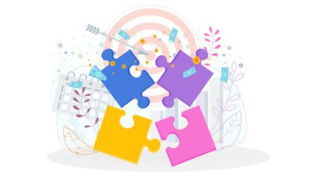Color bright puzzle pieces. Flat vector cartoon illustration. Concept isolated on a white background. Illustration