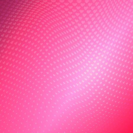 Luxurious pink halftone background from small hearts. Trendy abstract background for greeting cards for Valentines Day, for the wedding. Illustration