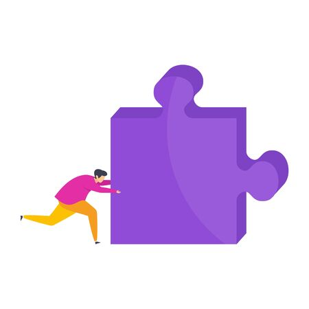 Tiny man pushes a huge piece of the puzzle. The desire to overcome contradictions, disagreements and difficulties. Team building. Business and psycholonic metaphor. Flat vector character. Stock Vector - 137602049