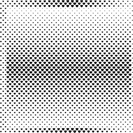 Halftone background from small black hearts. Trendy abstract background for greeting cards for Valentines Day, for the wedding.