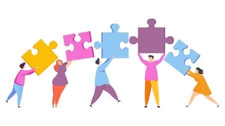 Gente diminuta junta las piezas del rompecabezas. Trabajo en equipo, ayuda y apoyo, entendimiento mutuo. Gestión de recursos humanos y resolución de problemas. Estilo de moda vector plano. Ilustración de vector