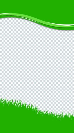 Green grass border on transparent background.