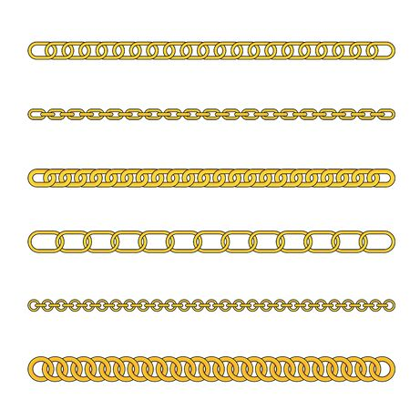 Gold chains with different weaving. Expensive gold jewelry. Flat vector illustration.