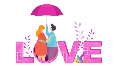 Love lettering. Hugging couple in love under an umbrella.