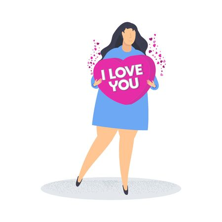 Woman holds a heart. I love you. Search for a partner, lover. Date invitation. A romantic offer. Loneliness and the search for a life partner. Flat trending vector illustration. Banque d'images - 138460309